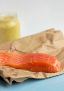 raw salmon with mustard