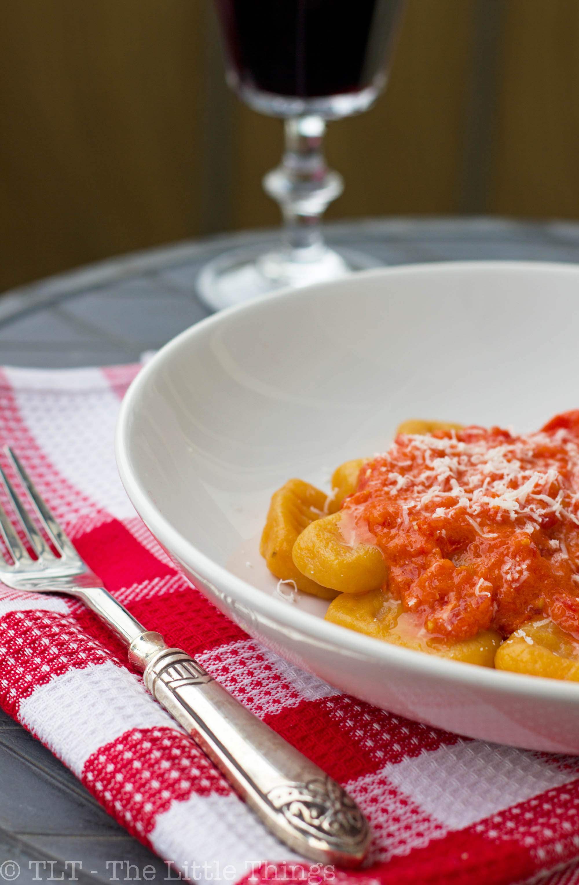 Sweet Potato Gnocchi with Red Pepper & Goat Cheese Sauce