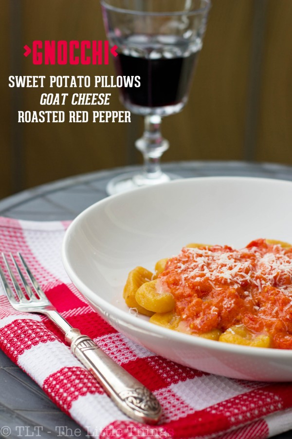 sweet potato gnocchi with roasted red pepper goat cheese sauce