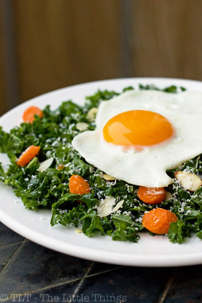 kale salad fried egg